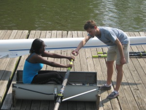 The Kid getting a lesson before hitting the Schuylkill River